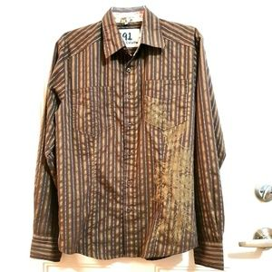 191 UNLIMITED Small Brown Stripe L/S Dress Shirt